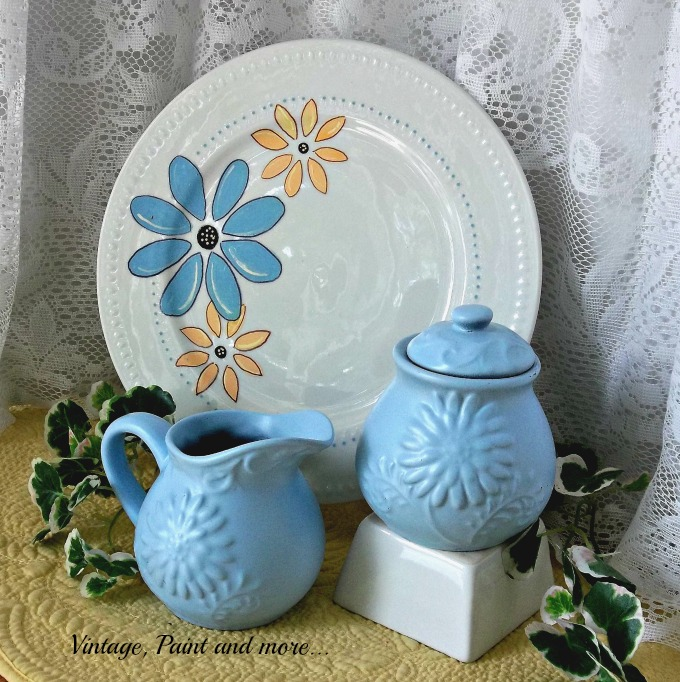 Vintage, Paint and more... dollar store and thrift dishes custom painted to blend with decor