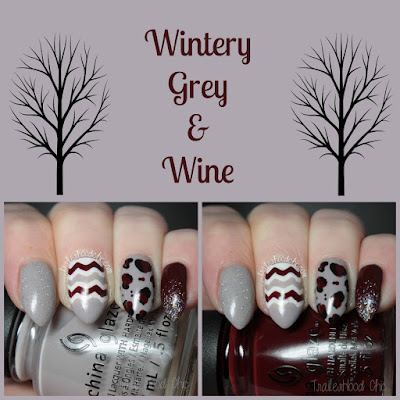 wintery grey wine stiletto nail art
