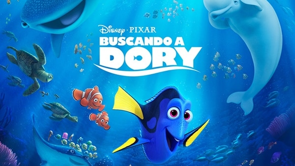 cartel de Buscando a Dory con los personajes