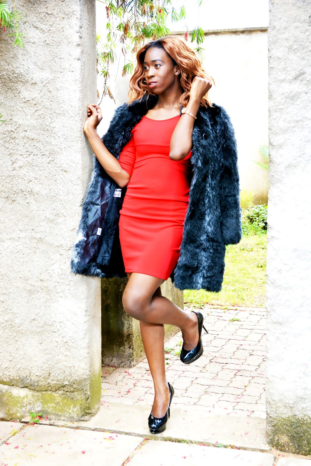 what to wear to a date, little red dress, red dress, fur coat over a red dress, style with Ezil, Ezil, African fashion blogger, Kenyan fashion blogger.