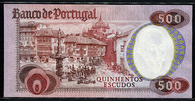 foreign money currency Portugal 500 Portuguese Escudos banknote