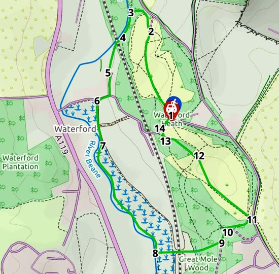 Map for Walk 84: Waterford Heath Loop Created on Map Hub by Hertfordshire Walker Elements © Thunderforest © OpenStreetMap contributors Note: There is a larger, more detailed map embedded at the end of these directions