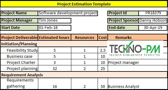 Project Estimation Template, Project Estimation Techniques, Project Estimate Template