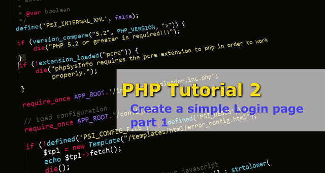 PHP tutorial 2 about Creating a login page