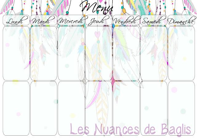 Sehr Les nuances de Baglis: calendrier mensuel et menu à imprimer ! AD89