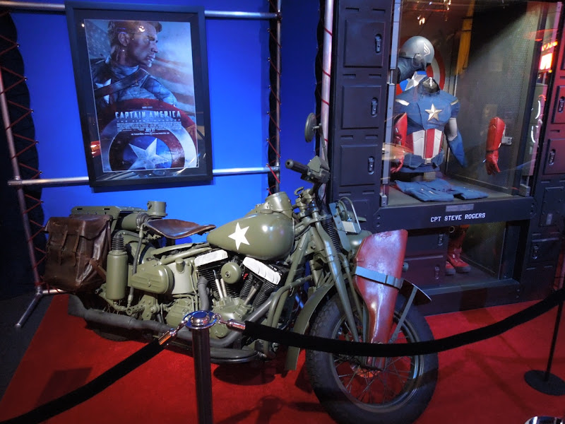 Captain America Steve Rogers motorcycle display