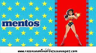 Etiquetas Mentos de Mujer Maravilla para imprimir gratis.