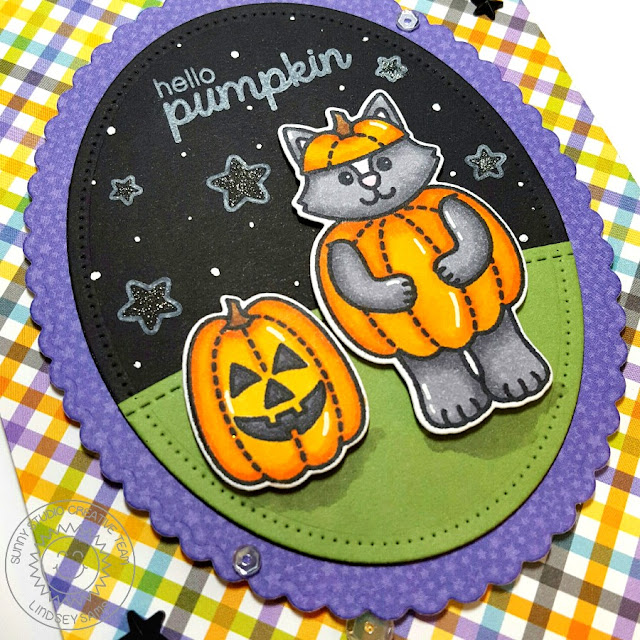 Sunny Studio Stamps: Halloween Cuties Hello Pumpkin Costumed Kitty Card by Lindsey Sams.