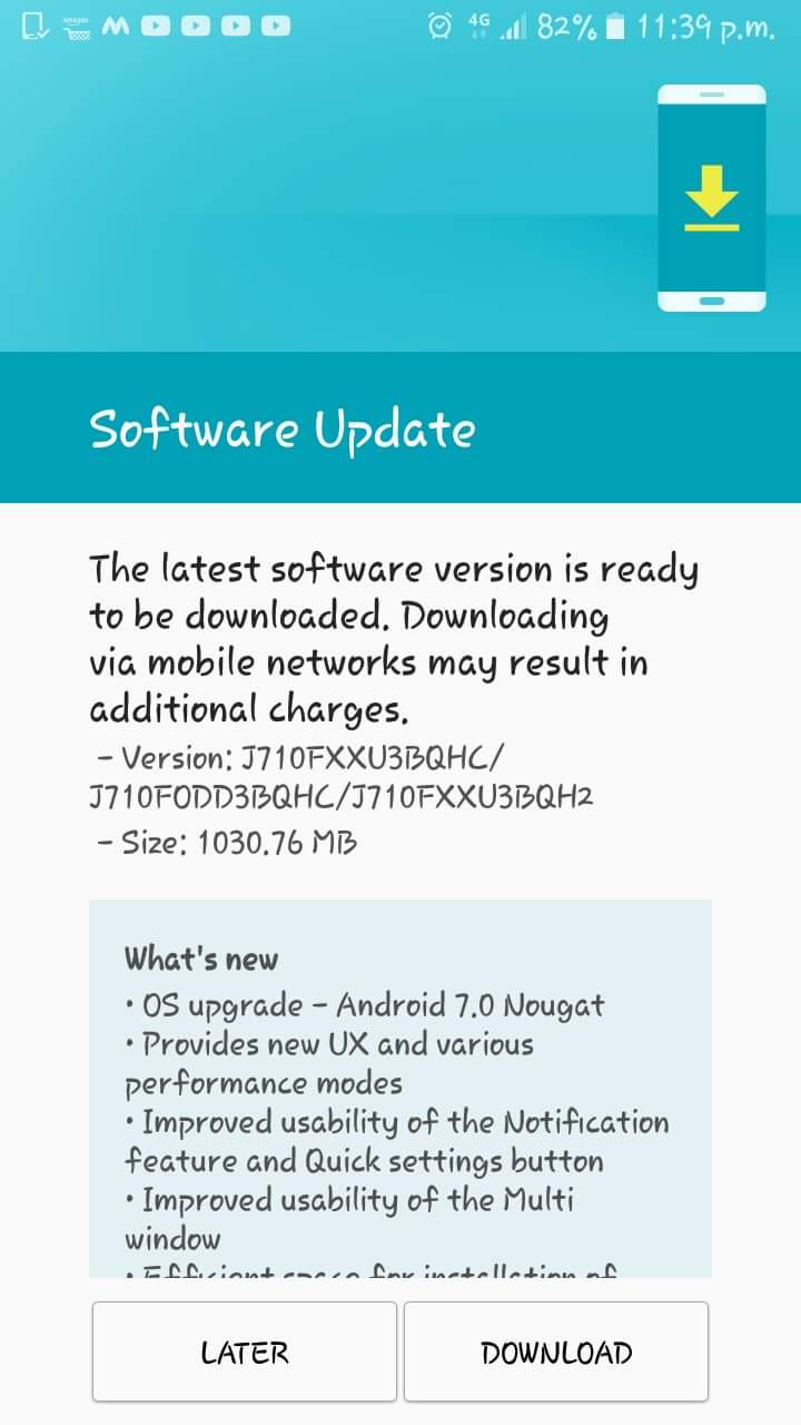 Samsung Galaxy J7 2016 gets Android 7 0 Nougat update in