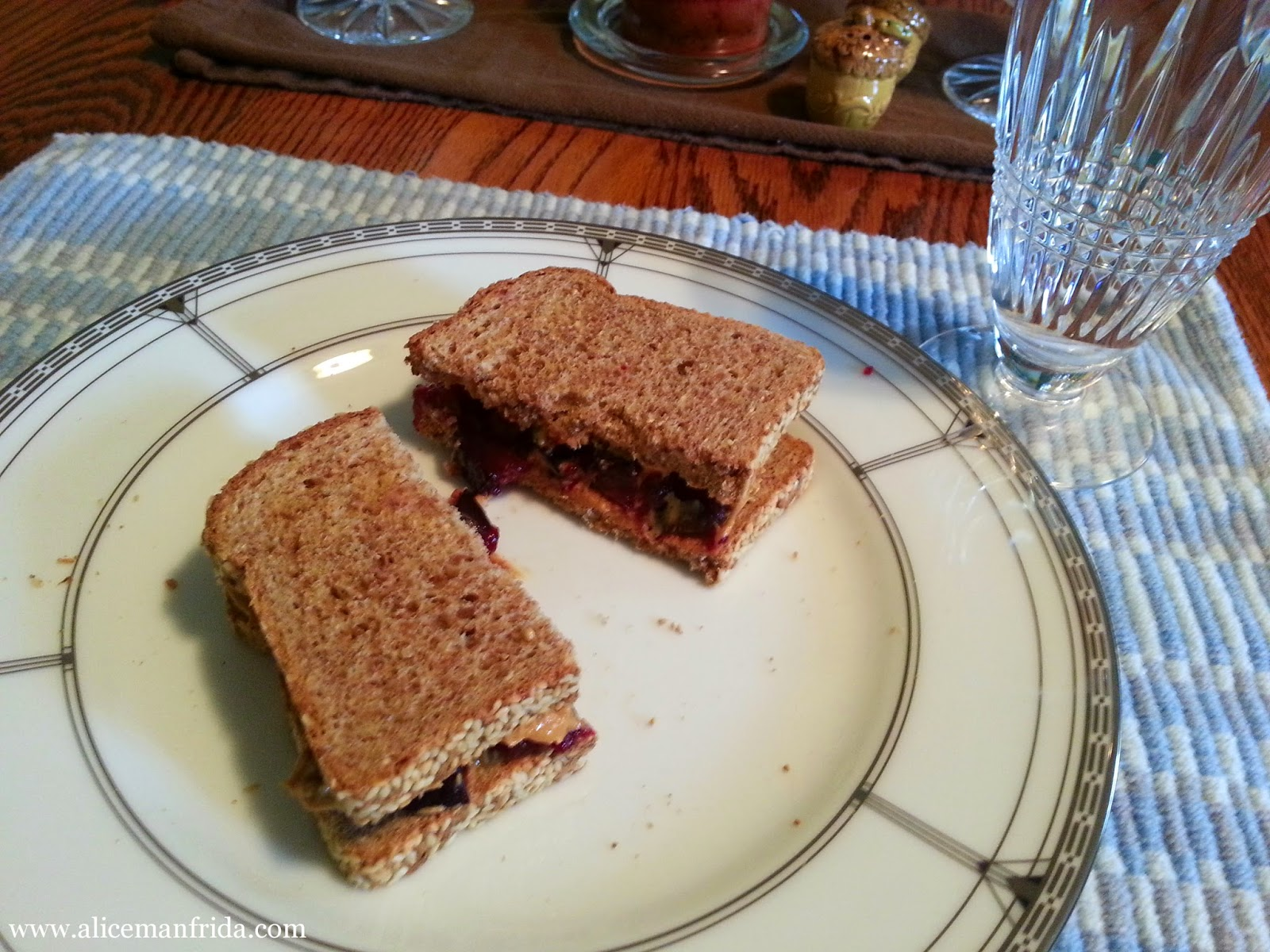 peanut butter, plum, sandwich, water, fruit, healthy, sprouted grain bread, sesame