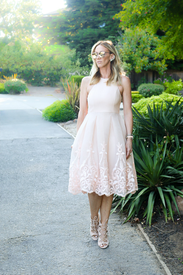 embroidered blush midi dress