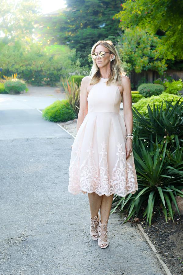 embroidered blush midi dress