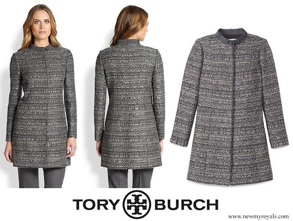 Kate Middleton wore Tory Burch Bettina Grey Tweed Coat
