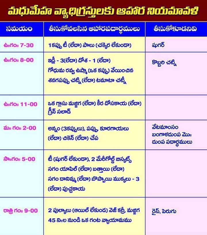 Chart showing food items to be taken by diabetes patients in  day according time table given telugu also chodavaramnet rh chodavaramnetspot