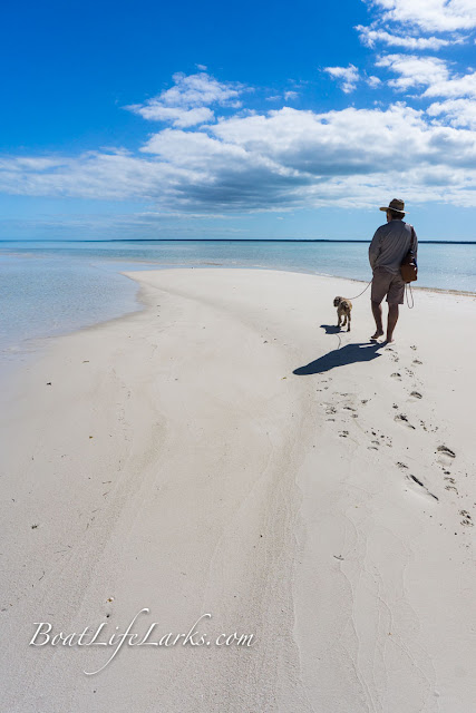 walking the sandbar at low tide, Powell Cay, Abaco Islands, Bahamas