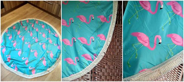 Okrągła  plażowa narzutka z frędzlami - motyw flaminga
