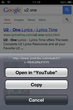Google All Your: Open YouTube Links in Mobile Safari