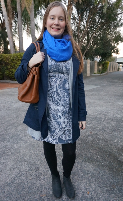 paisley print sheath dress layered up for winter navy trench louis vuitton shawl business casual | awayfromblue