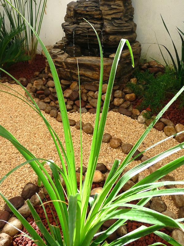 Dise o de un jard n muy peque o con fuente piedras y - Piedras de rio para jardin ...