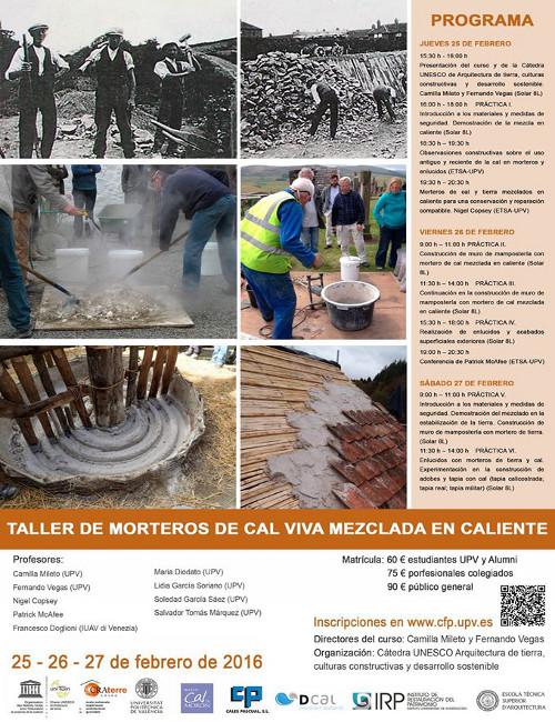 Taller de morteros de cal viva elaborados en caliente, en Valencia