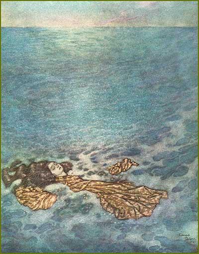 The little mermaid turning into sea foam