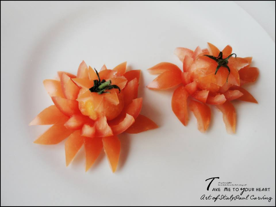 Vegetable Carving With Tomato Art In Tomato - Vegetable