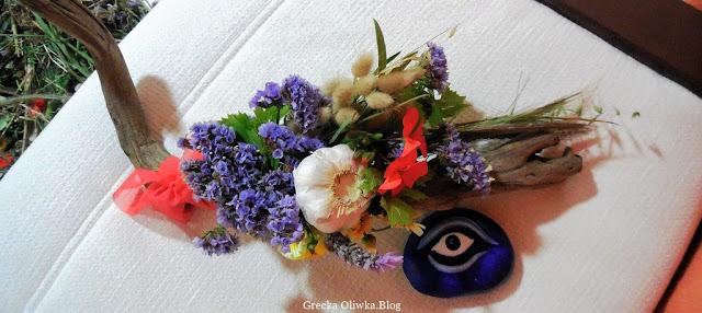 majowe ukwiecone morski drewno, niebieskie oko, Mykonos Grecja