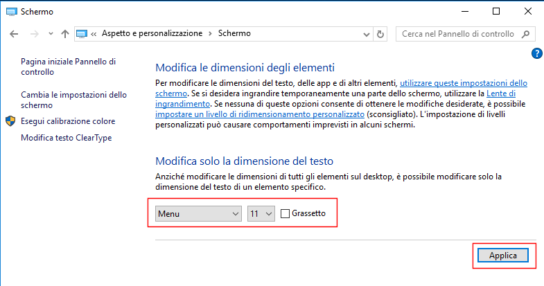 Windows 10, Modifica dimensione del testo dei menu