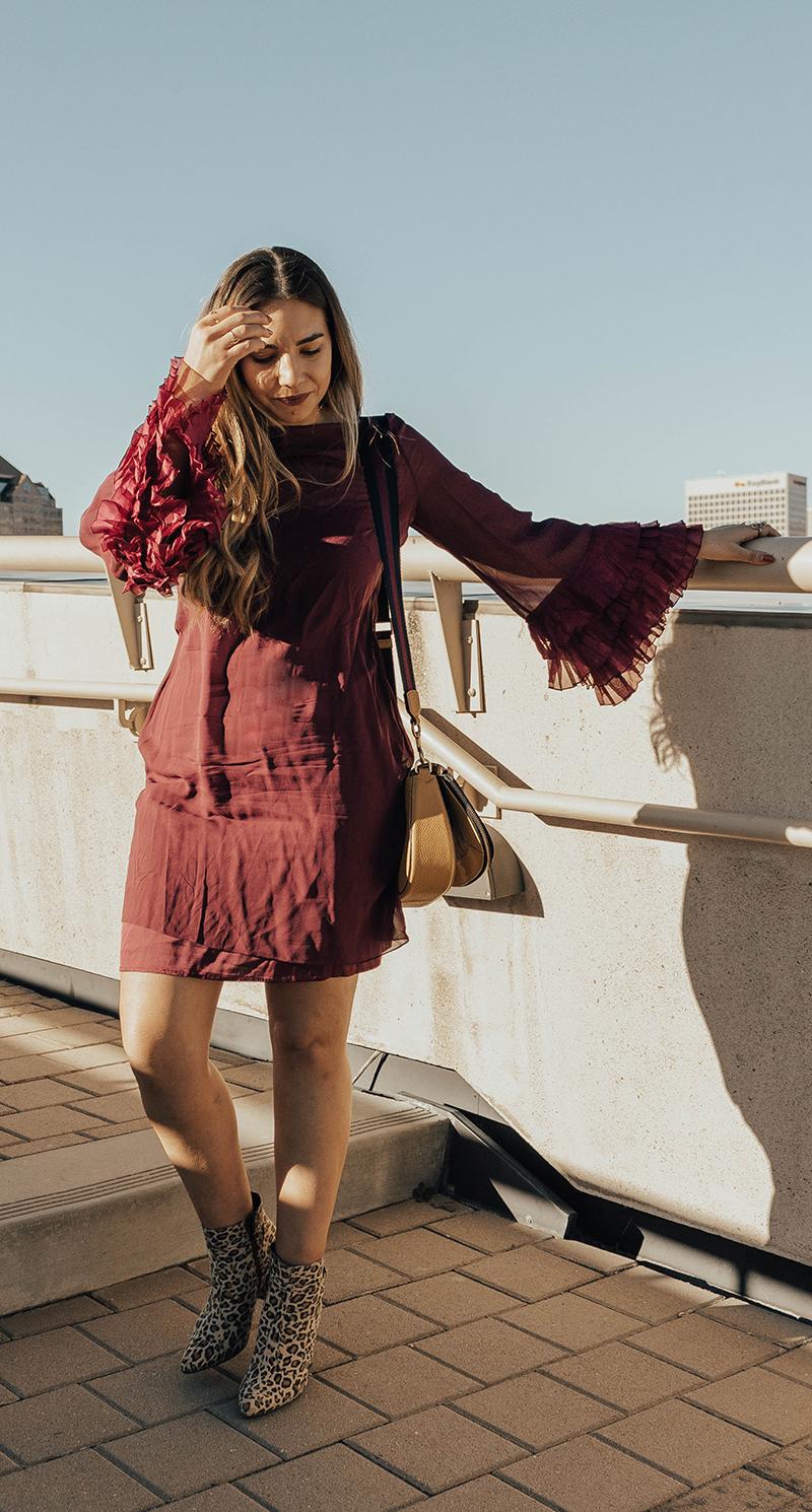 leopard print booties, burgundy dress, lauryn hock