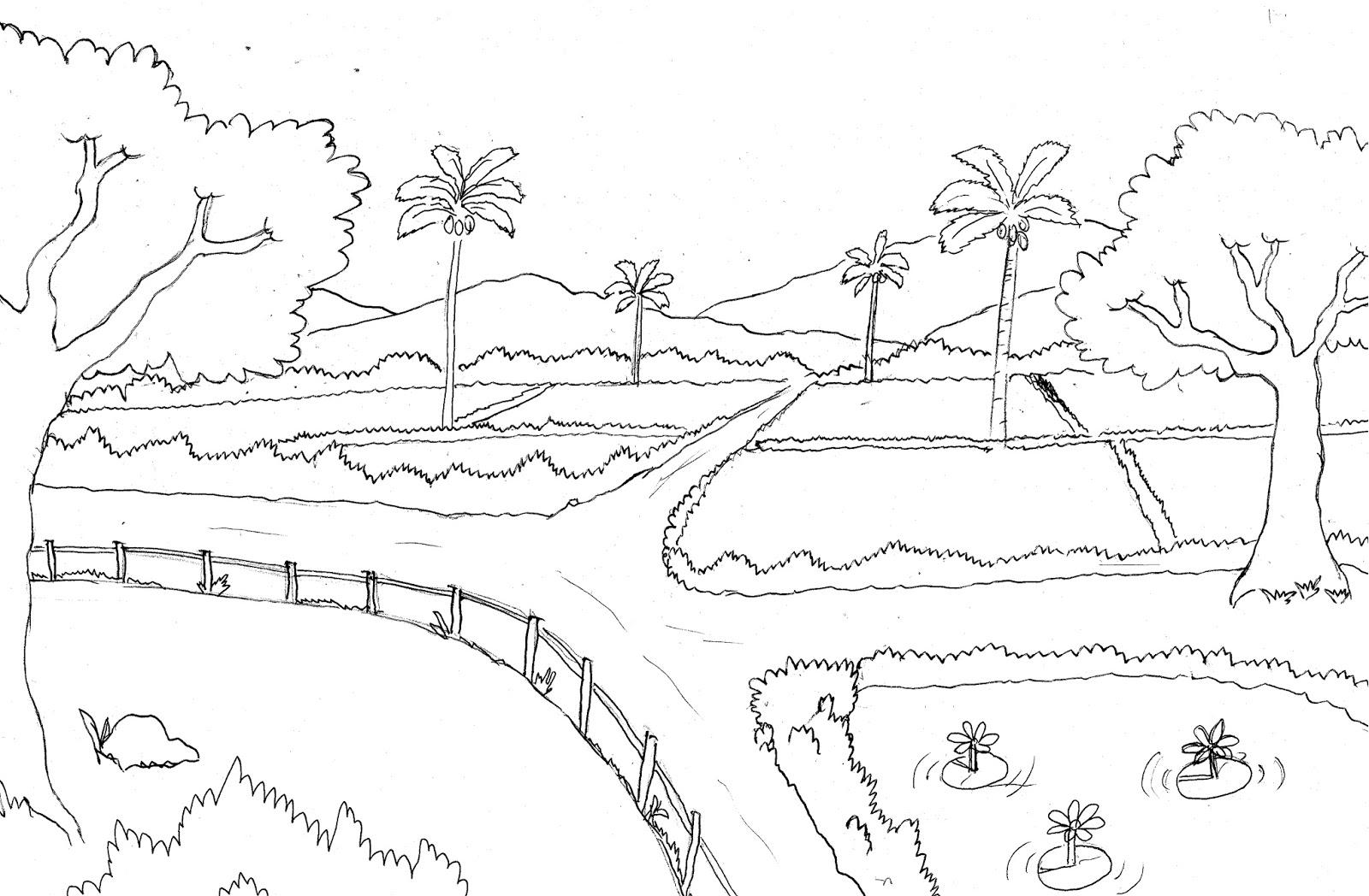 Gambar mewarnai pemandangan sawah pohon gunung dan hewan sapi anjing ikan