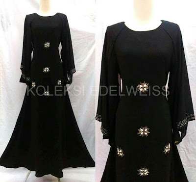 Afifah -Dress With Long Sleeve  Cape  Black