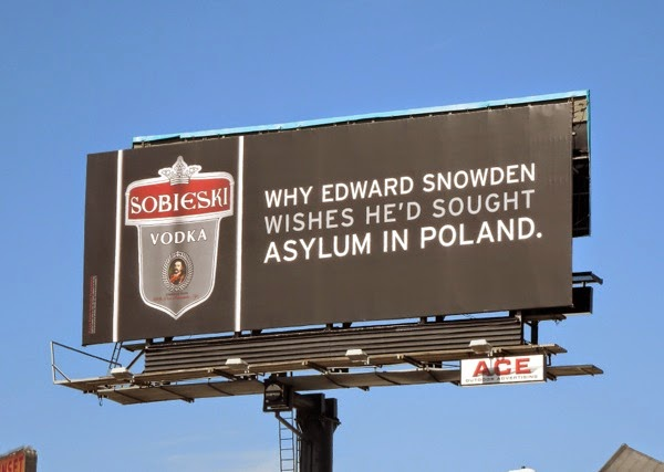 Edward Snowden asylum in Poland Sobieski Vodka billboard