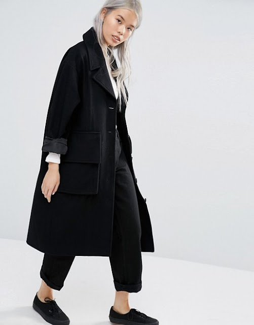weekday black wool coat, weekday black winter coat, black winter oversized coat,