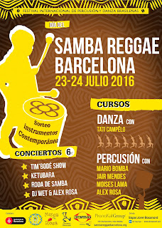 Cartel del Festival Día del Samba Reggae en Barcelona