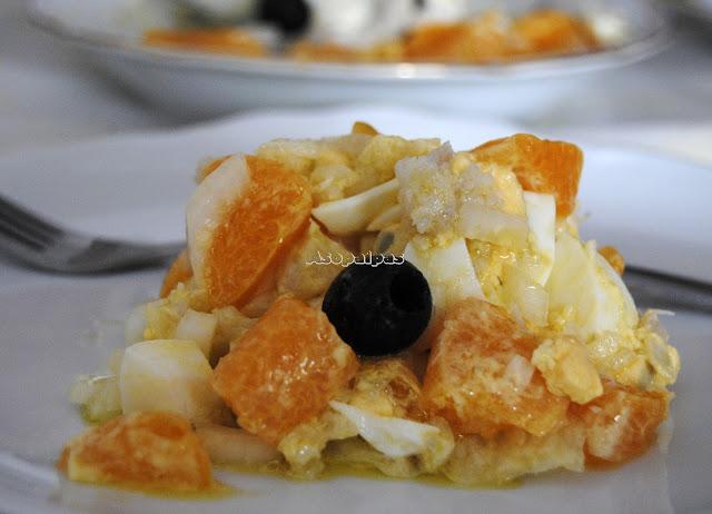 Ensalada de Naranja con Bacalao y Huevo duro