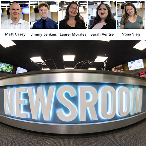 Image of KJZZ newsroom and shots of winning reporters Matt Casey, Jimmy Jenkins, Laurel Morales, Sarah Ventre and Stina Sieg