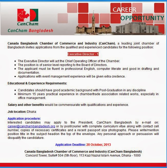 Canada bangladesh chamber of commerce and industry jobs for Canadian chambre of commerce