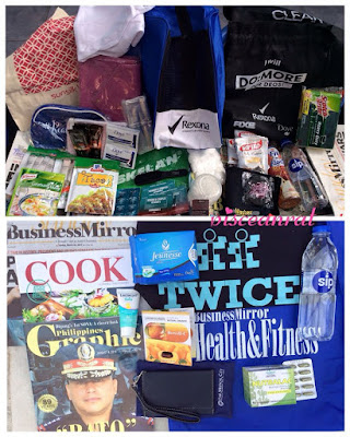 Lootbag full to the brim! McCormick, Knorr, Unilever (Dove, Pond's, Sunsilk, Creamsilk, Rexona, Clear, Axe, Master, Close Up), Skelan, Neurogen-E, Nippon, Scotch Brite, Del Monte Fit n Right, SIP water, Kopiko LA Coffee, Business Mirror Health & Fitness, Cook Magazine, Philippines Graphic, Lactacyd Baby, Jeunesse Anion, Bewell-C, Nutralac and The Medical City.
