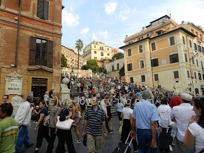 Large crowds gather on the Spanish Steps