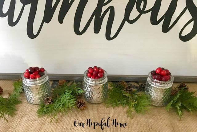hobnail mercury glass cranberries holiday decor