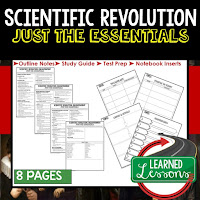 Scientific Revolution, World History Outline Notes, World History Test Prep, World History Test Review, World History Study Guide, World History Summer School Outline, World History Unit Overview, World History Interactive Notebook Inserts