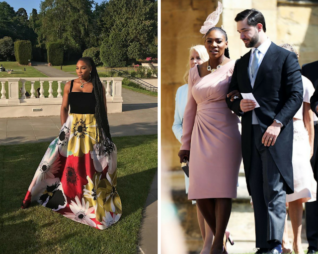 Serena Williams Floral and Pink Versace Outfit at Prince Harry and Meghan Markle Wedding