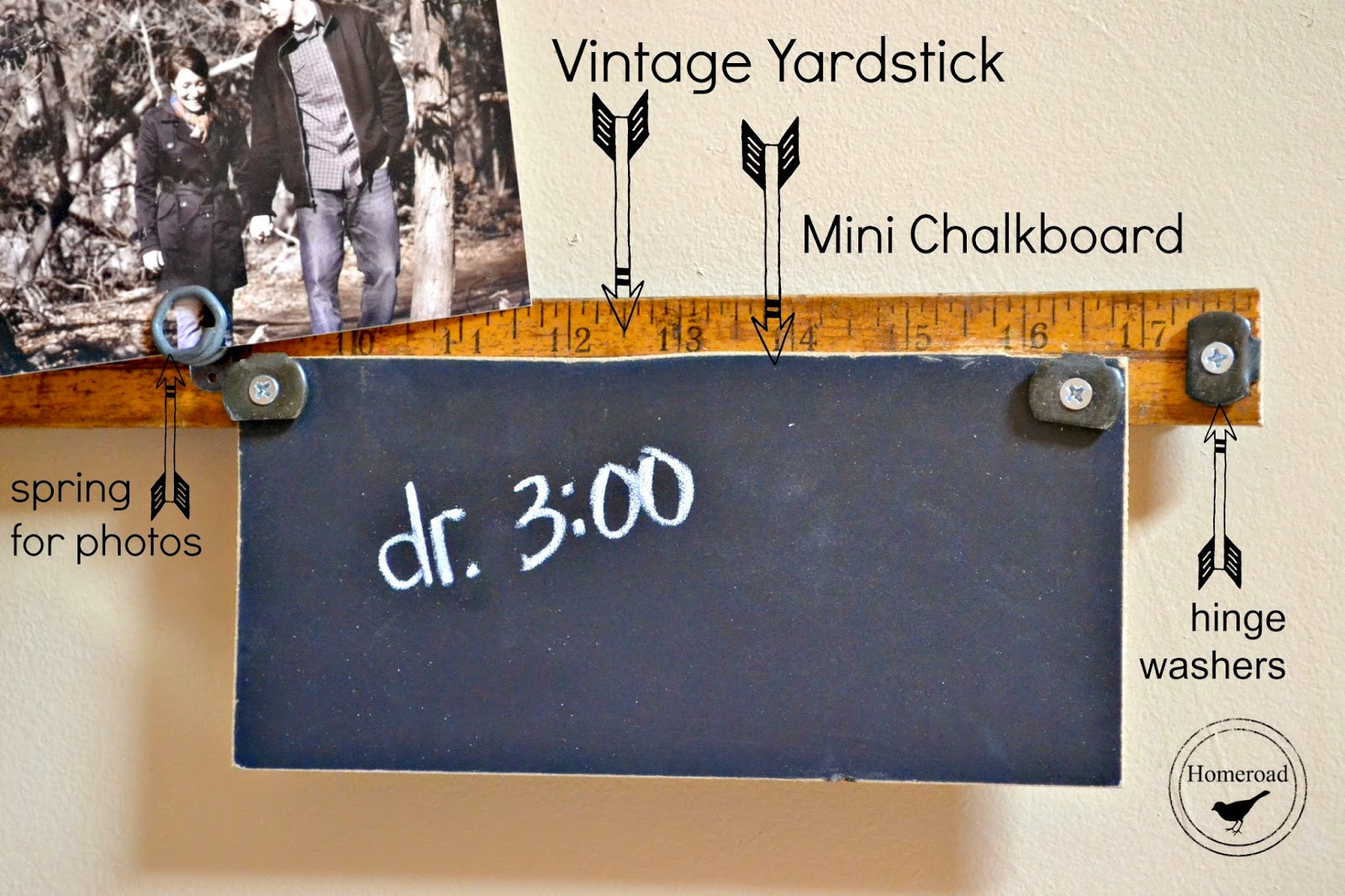 DIY Vintage yardstick message center for a small area