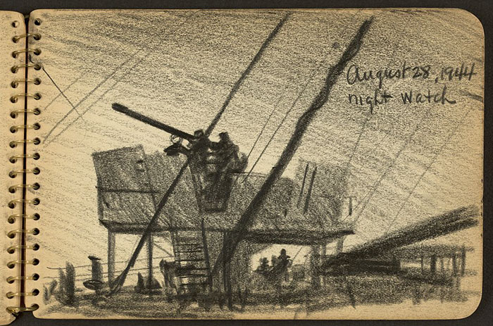 21-Year-Old WWII Soldier's Sketchbooks Show War Through The Eyes Of An Architect - Soldiers On Watch Tower And Deck Of Ship At Night
