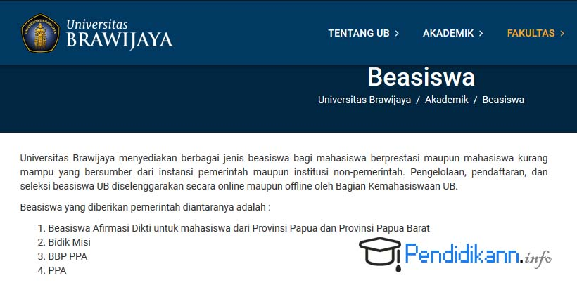 Info Beasiswa Universitas Brawijaya Malang Terbaru