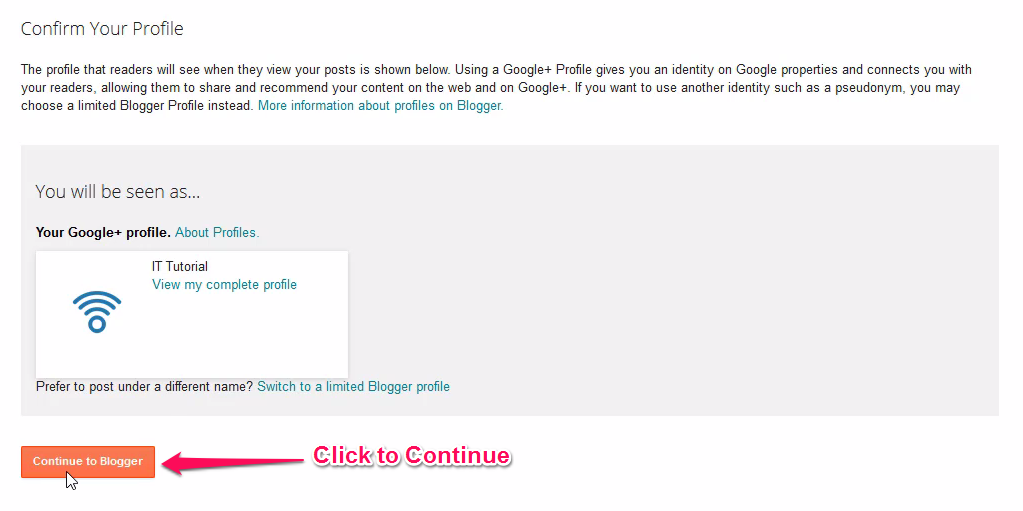 Continue Mockup On Blogger Profile Page