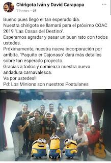 Las cosas del destino (Chirigota). COAC 2019