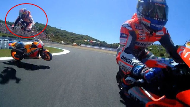 Detik-detik Kecelakaan Mengerikan Dovizioso, Lorenzo, dan Pedrosa di Sirkuit Jerez