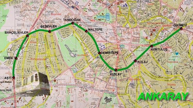 Ankaray Metro Haritası