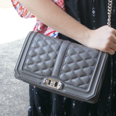 Rebecca Minkoff quilted Love cross body bag in grey | AwayFromTheBlue